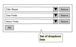 set of dropdown